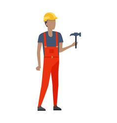 Man in red robe and yellow helmet metal hammer vector