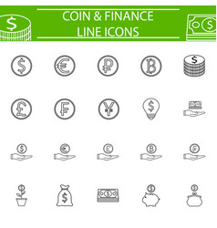 Coins line pictograms package finance signs vector