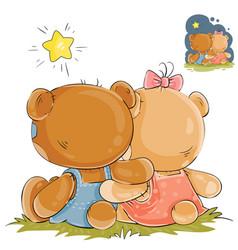 a pair of teddy bears vector image