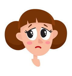 Pretty brown hair woman crying facial expression vector