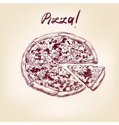 pizza hand drawn llustration realistic sketch vector image