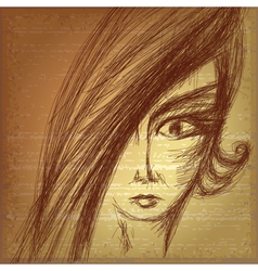Pencil sketch of young girl vector image
