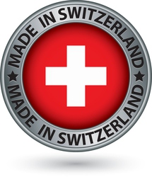 Made in Switzerland silver label with flag vector image