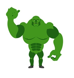Angry green monster scary goblin big and strong on vector