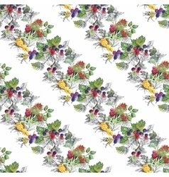 Seamless watercolor pattern with leafs and berries vector
