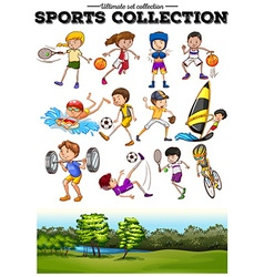 Diverse sport set and green field vector
