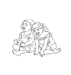 Laughing playing children vector
