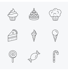 Cake candy and muffin icons cupcake sign vector