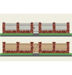 Brick fences with wooden and metal vector
