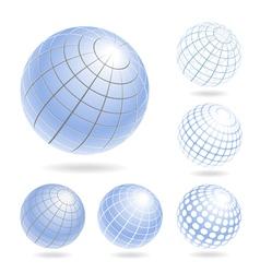 Design elements of light blue globes vector