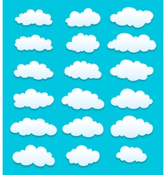 Cute cartoon white clouds vector