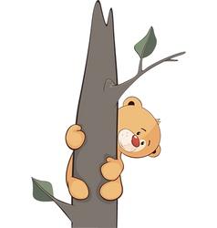 A stuffed toy bear cub on a tree cartoon vector image vector image