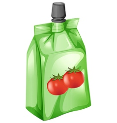 A tomato juice in a drinking pouch vector