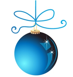 Blue Christmas ball decoration vector image