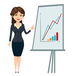 Businesswoman standing near board with graph cute vector