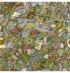 Cartoon doodles food seamless pattern vector image