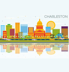 Charleston skyline with color buildings blue sky vector