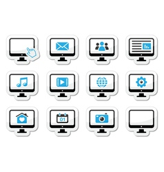 Computer screen icons set as labels vector image vector image