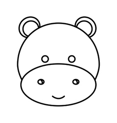 Cute little hippo animal character vector