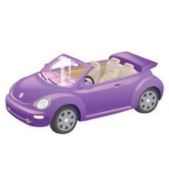 Detailed purple convertible car cartoon isolated vector