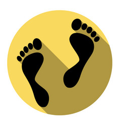 Foot prints sign flat black icon with vector