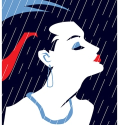French woman in evening dress under rain vector
