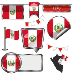 Glossy icons with peruvian flag vector