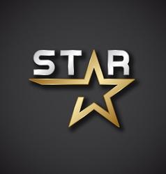 golden star inscription icon vector image vector image