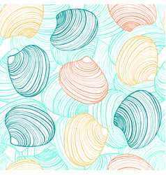 hand drawn seamless shell background vector image vector image
