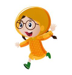 Happy girl in yellow raincoat vector