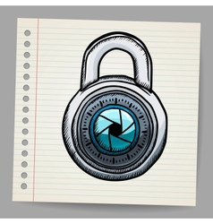 Lock in doodle style vector image
