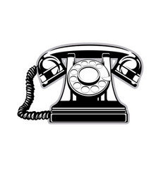 logo silhouette of the old home phone with a dial vector image vector image