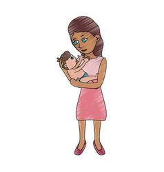 mom holding baby cartoon vector image vector image