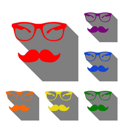 Mustache and glasses sign set of red orange vector
