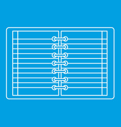 Open spiral lined notebook icon outline vector