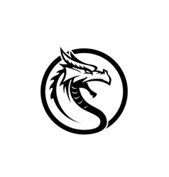 original dragon face head black dragon face vector image