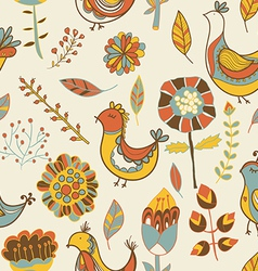 Seamless texture with flowers and birds vector image vector image