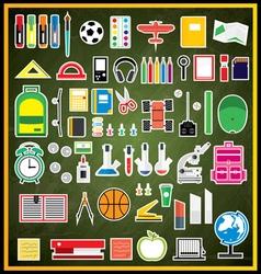 Set of school supplies on green chalk board vector