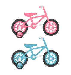 Set of two pink and blue kids bicycles isolated on vector