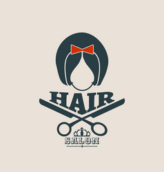 silhouette of a girl retro style hair vector image vector image