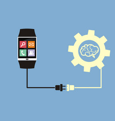 Smart watch connected to brain vector