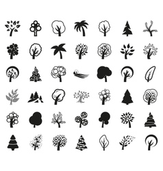 Tree symbol or icon set monochrome vector image