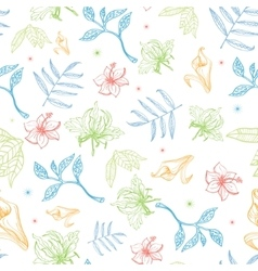 Tropical pastel drawing flowers seamless vector