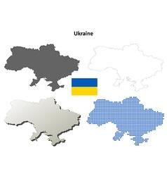 Ukraine outline map set vector image vector image