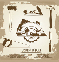 Vintage design of carpentry equipment collection - vector