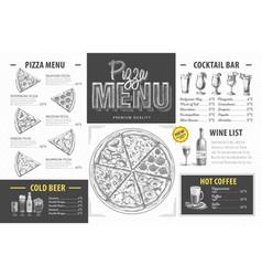 Vintage pizza menu design restaurant menu vector