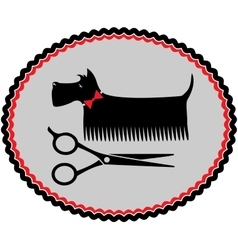 Grooming dog sign with scissors vector