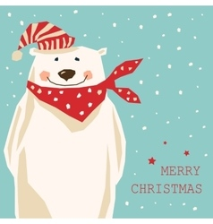 Christmas card with polar bear vector