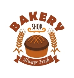 Fresh baked bread icon for bakery shop label vector