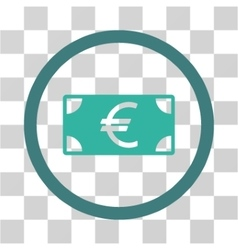 Euro banknote flat rounded icon vector